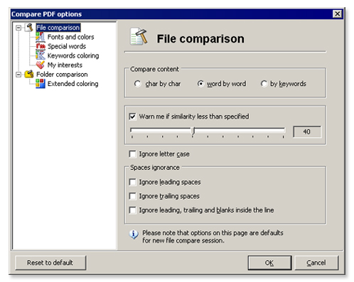 Compare PDF's options allows to specify compare setting and plugins using rules